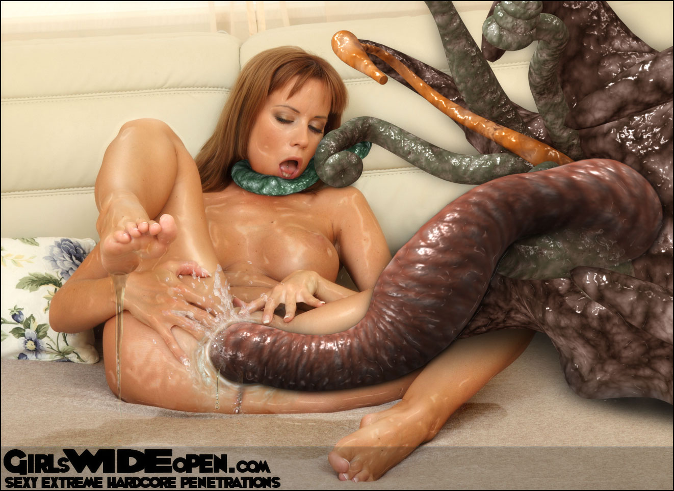 Naked women and monsters sex movie erotic scene
