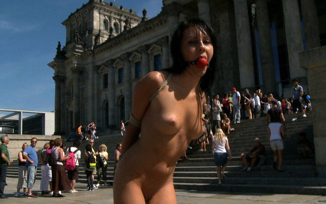 big nude people porn tits people naked brunette front abused bondage public tied perky curious outdoor