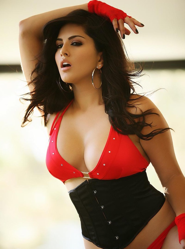 top porn star black sunny leone red photoshoot outfit