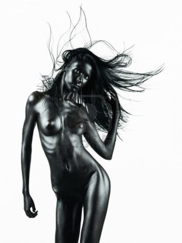 black nude pic young photo dance artistic nude black woman white painted skin background isolated shotsstudio movem