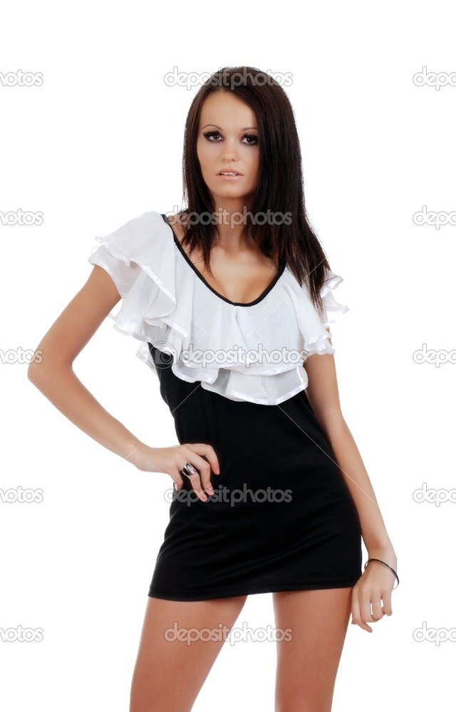 brunette woman pics photo black woman white brunette wearing stock depositphotos
