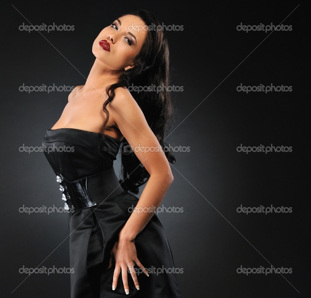 brunette woman pics photo woman brunette grey background stock attractive depositphotos isolated