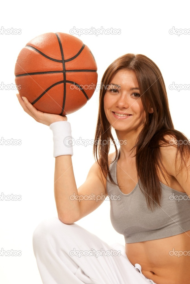 brunette woman pics photo woman brunette hand pretty basketball stock holding depositphotos