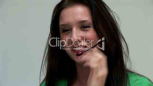 brunette woman pics young video media woman brunette call center previews headset