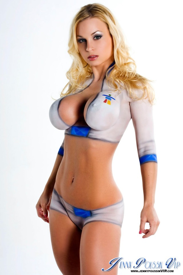 busty girl big boobs hot girls blonde blue boobs painted body paint bigtits lips eyes