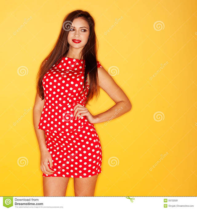 hot black sexy chicks hot sexy black woman red dress wearing stock polka dot dots stiletto