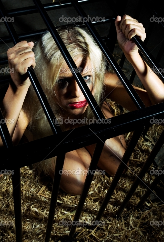 naked bondage girl photo beautiful art nude slave bondage style stock cage depositphotos locked