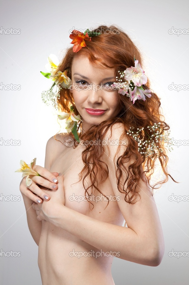 naked woman pics photo beautiful portrait naked woman spring stock flowers depositphotos