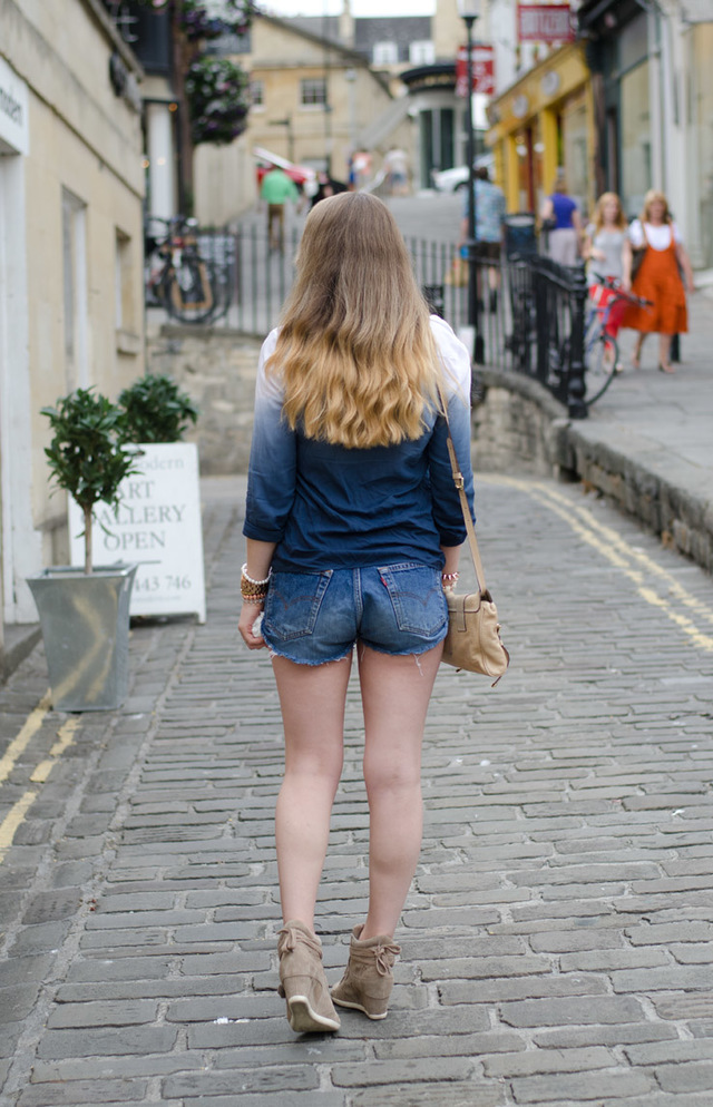 photos of tight asses vintage blue shirt shorts levis denim dip dye