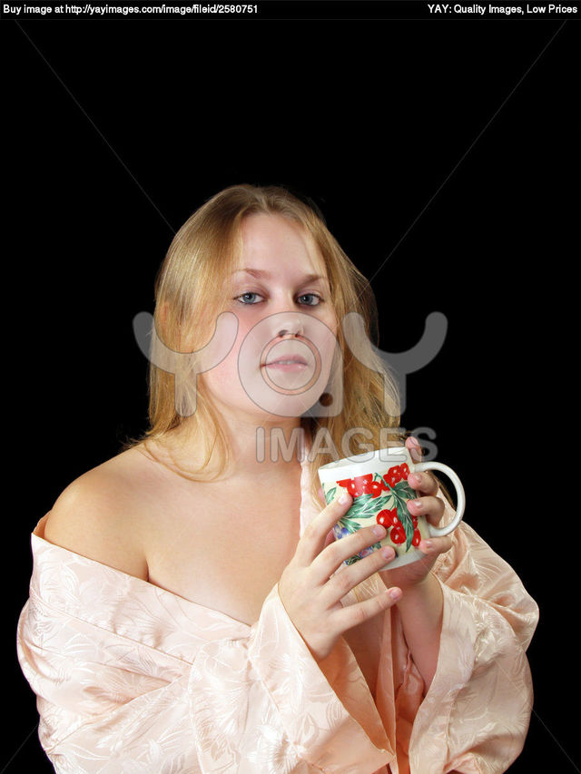 plump woman pics young woman coffee plump stock cup robe