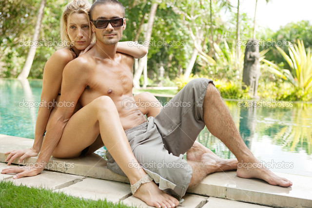 sexy exotic pic young photo sexy couple exotic pool stock edge swimming depositphotos lounging