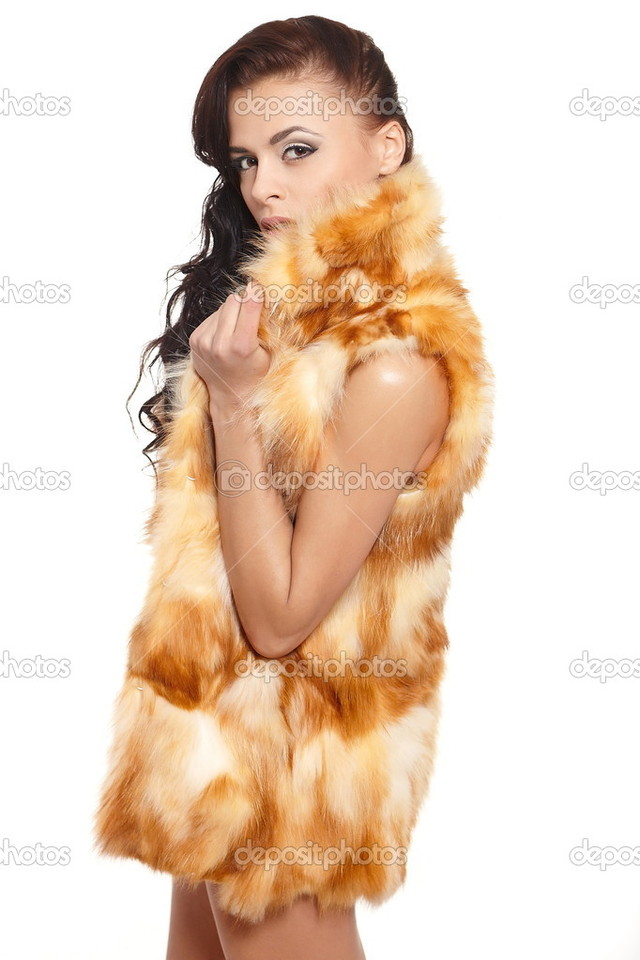 sexy nude brunettes young girl photo beautiful sexy nude white brunette long pretty bright curly hair stock fur coat makeup depositphotos isolated