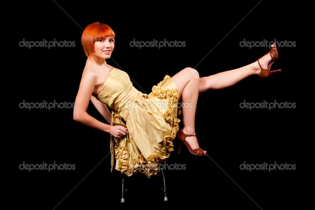 sexy red headed women photo sexy redhead yellow dress stock depositphotos