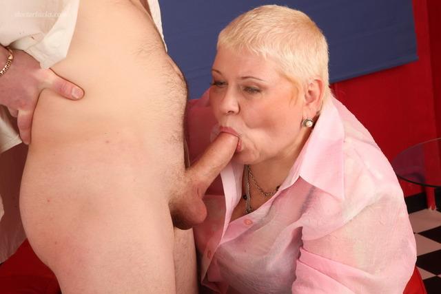Old woman having bukkake
