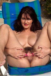 big hairy pussy pics van srs boobed milf hairy pussy relaxes pool sexy blue bikini