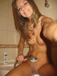 bikini girl naked nude self shot shower pics april