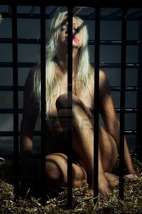 black nude free pics bondage art style beautiful nude slave girl locked cage black bars naked photo