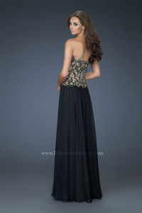 black nude pic bedazzling black nude strapless chiffon evening gown