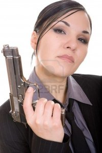 brunette woman pics netris attractive brunette woman gun white background photo