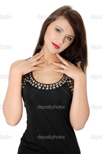 brunette woman pics depositphotos pretty brunette woman wearing elegant dress stock photo