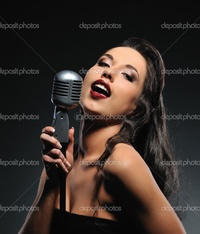brunette woman pics depositphotos beautiful brunette woman singing stock photo
