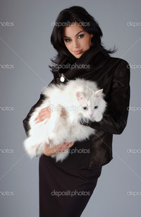 brunette woman pics depositphotos portrait sophisticated brunette woman holding white cat stock photo