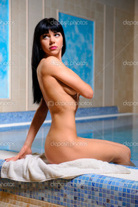 brunette woman pics depositphotos beautiful naked brunette woman relaxing swimming pool stock photo