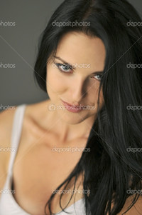 brunette woman pics depositphotos attractive smiling young brunette woman blue eyes shallow depth field focus stock photo
