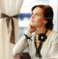 brunette woman pics depositphotos beautiful thinking brunette woman stock photo