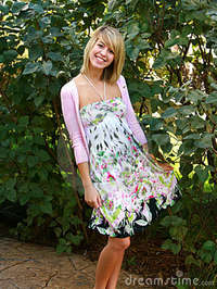 free blond babes blond teen floral dress royalty free stock