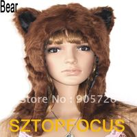 free hot sex wsphoto free shipping spirit animal hoodie half brown font bear hat beanie compare panda fur