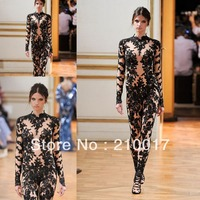 free nude black pictures wsphoto arrival cheap high neck long sleeve black nude jumpsuit zuhair murad lace dress free store product