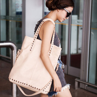 free nude hot women wsphoto fashion women handbags nude color handbag rivets bag hot sales free shipping item shoulder work block vintage