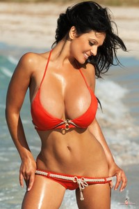 giant tits porn pictures tits porn denise milani giant spilling out from red bikini pictures