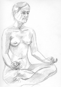 girl naked pics drawing painting traditional girl nude lotus pose pencil