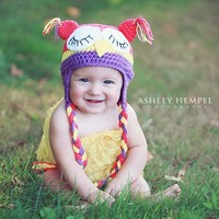 hot babies pics petti romper crochet owl hat photography prop babies girls products page hats sleeping knit hot pink yellow purple baby newborn