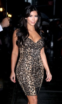 hot brunettes kim kardashian leopard dress