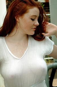 hot girls redhead hot redhead see through white shirt