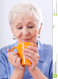 hot grandma pics grandma mug hot drink orange stock photo
