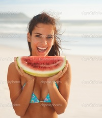 hot pic sexy girl depositphotos sexy girl smiling piece watermelon stock photo