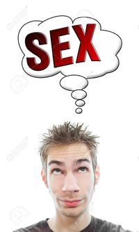 hot sex picture vlue young white caucasian male adult thinks about hot his think bubble isolated backgrou stock photo