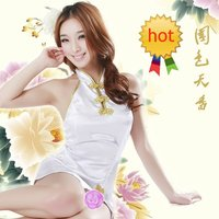 hot sexy image free wsphoto free shipping hot wholesale retail sexy women sleep dress cheongsam white item sell lace pajamas clothes girl skirt
