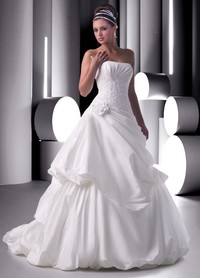 hot up skirt pictures taffeta strapless empire bodice line asymmetrical pick skirt chapel train hot sell wedding gown