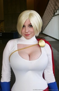 huge big tits girls power girl powergirl comic con san diego cosplay sexy tits boobs breasts busty huge powerful smirk srsrazzmatazz