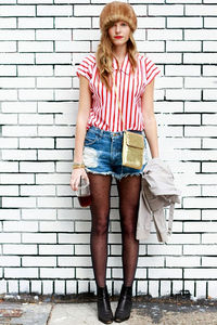 images pantyhose steffy black polka dot pantyhose denim shorts vertically striped red white shirt tights