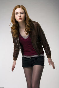 images pantyhose karen gillan black pantyhose shorts brown leather jacket tights