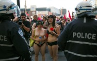 intercourse naked story near naked protesters confront police reuters chri