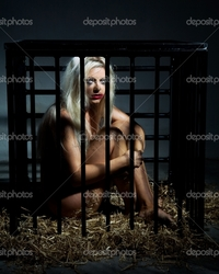 naked bondage depositphotos bondage art style beautiful nude slave girl locked cage stock photo