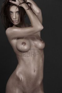 naked girl pictured dolgachov classical picture muscular naked girl over grey photo