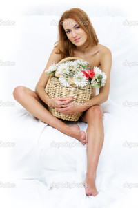 naked woman pics depositphotos naked woman busket flowers stock photo
